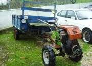 Tractor moto enchada com reboque